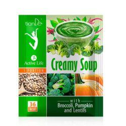 Supă crema brocoli, dovleac și linte, 25 gr